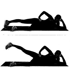 woman laying on side doing leg lifts to target saddlebags