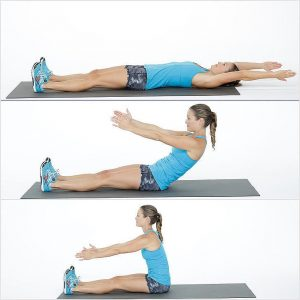 woman sitting up and down to workout her lower abs