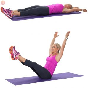 woman in purple yoga outfit working on her lower abs